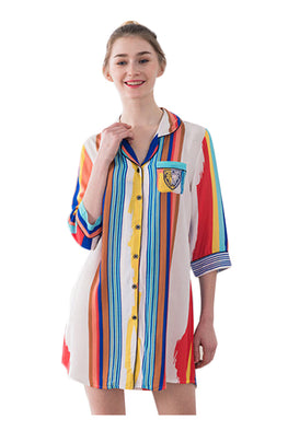 Campbell Stripe Sleepwear Night Dress
