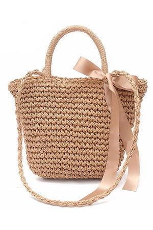 Women Crochet Straw Beach Casual Style Handbag