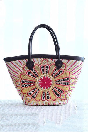 Floral Embroidery Straw  Handbag For Women