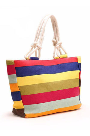 Rope Shape Top Handle Canvas Casual Handbag