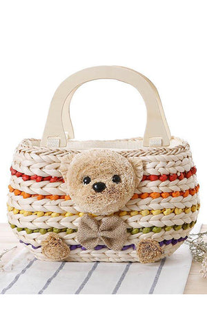 Beach Bear Straw Knitting Women's Handbag