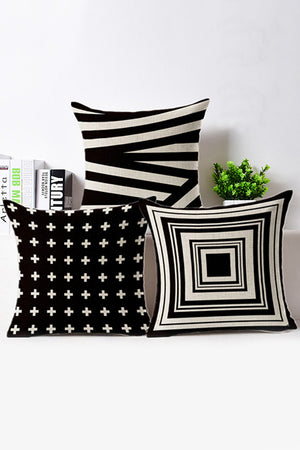Black and White Geometric Cotton Cushion Cover