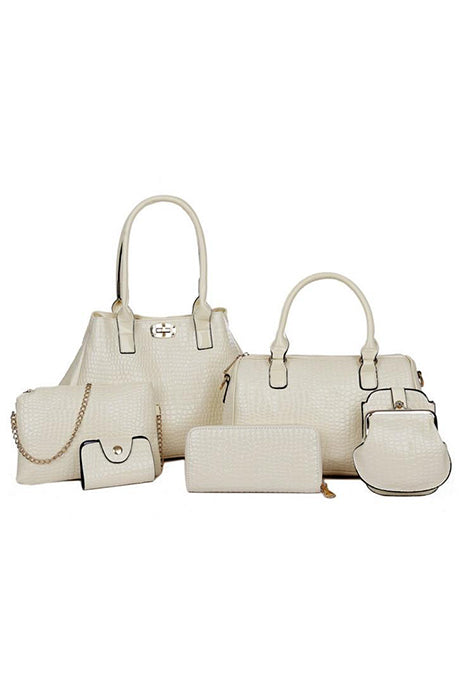 6 PCS New Fashion Women Handbag Crocodile Pattern