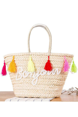 Beach Bag Rattan Woven Tote Handbags