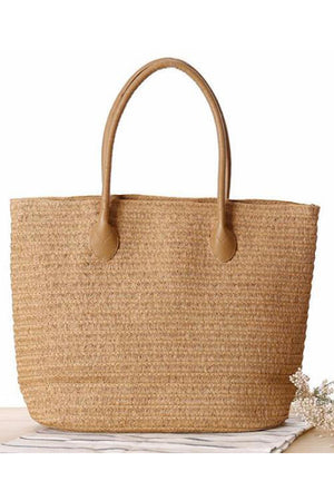 Women Tote Top-Handle Paper Straw Handbag