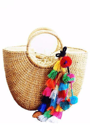 Women Straw Totes With Tassels Shoulder Bag
