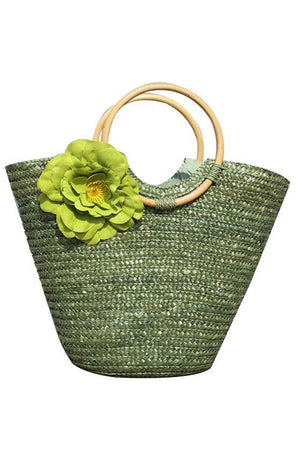 Straw Rattan Flower Beach Shoulder Handbag