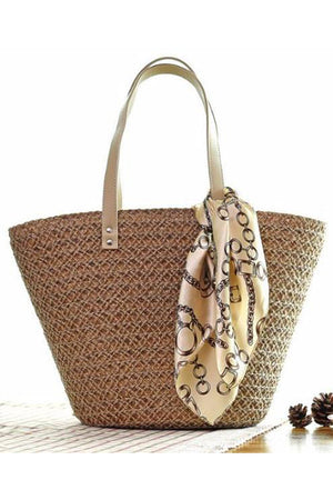 Women's Beach Woven Knitting Straw Shoulder Handbags.