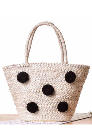 Wool Ball Pom Basket Shopping Shoulder Handbag