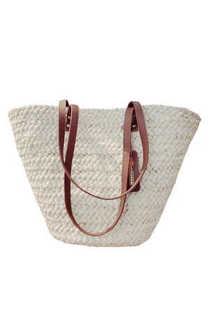 Women White Staw Beach Handbag With PU leather