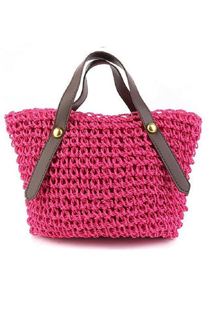 Women Grass Rattan Knitting Hollow Small Handbag