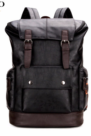 Mens Leather Backpack Simple Patchwork Large Capacity For Travel
