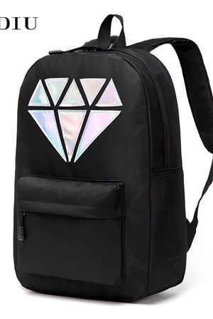 Women Backpack Canvas Laptop Waterproof Diamond Design