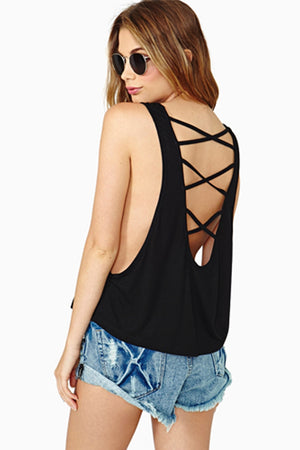 Amira Casual Cross Halter Back Sleeveless Top