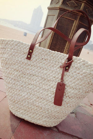 Bee Honey Store Top-Handle Bags Women White Staw Beach Handbag With PU leather