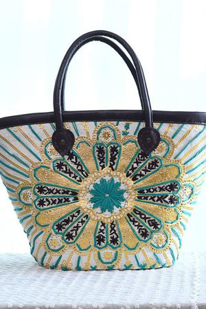 Bee Store Top-Handle Bags Floral Embroidery Straw Colorful Beach Handbag For Women