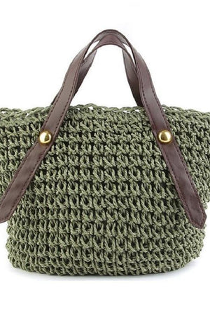 Happy store Top-Handle Bags Grass Rattan Knitting Women Hollow Small Handbag Beach Pouch