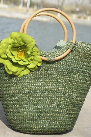 high retail Top-Handle Bags Army Green Straw Bag Rattan Flower Beach Shoulder Handbag