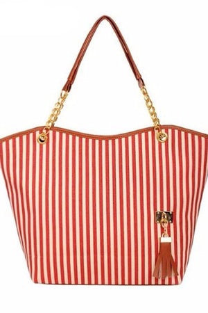 LuckyStore Shoulder Bags Stripe Tassels Chain Canvas Shopping Handbag Shoulder Tote Shop Bag