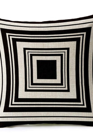 Margin Free Shop 450mm*450mm / 4 Black and White Shading Geometric Cotton Linen Apartment Sofa Cushion Cover.
