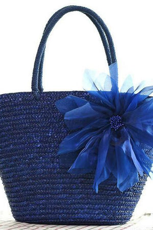 Margin Free Shop Blue Straw Weave Flowers Series Beach Rattan Designer Bags