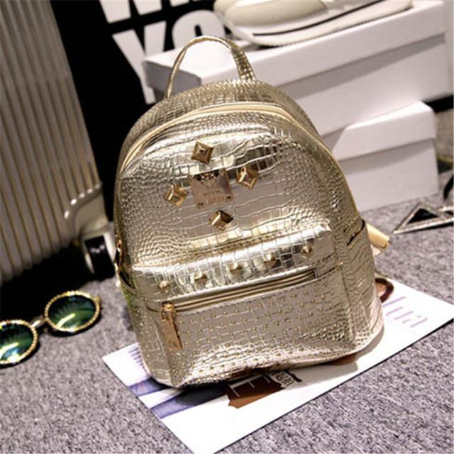 Margin Free Shop gold Alligator Urban Leather Leisure Classic Style Backpack