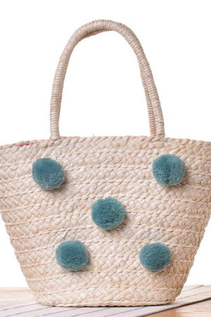 My Store Shoulder Bags Straw Beach Bag Wool Ball Pom Basket Shopping Shoulder Handbag