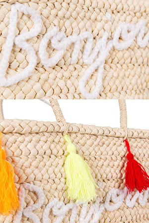 pretty style Shoulder Bags Designer Rainbow Tassel Straw Beach Bag Rattan Woven Tote Handbags