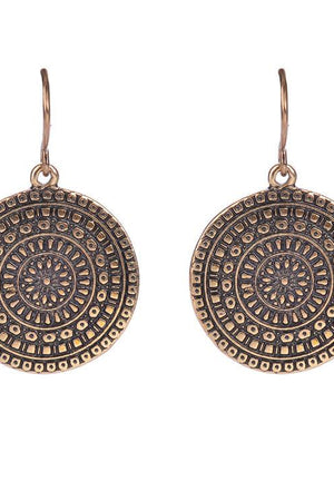 Vintage Glaze Ethnic Round Long Dangles Earrings