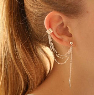Stylish Punk Rock Leaf Chain Tassel Dangle Cuff Earring