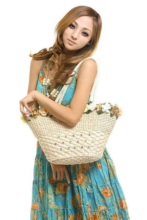 Shop Store Shoulder Bags Sweet Flowers Straw Woven Beach Bags For Lady Shoulder Casual Tote Handbag