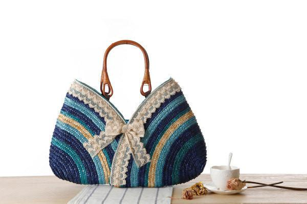 ddf1f68bfb4e Store Top-Handle Bags blue Women Lace Bow Straw Weave Woven Shoulder Tote  Shopping Beach