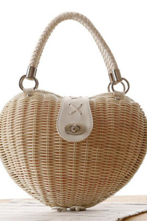 Styles Station Bar Store Top-Handle Bags Heart Shaped Straw Casual Totes Rattan Knitting Beach Handbag