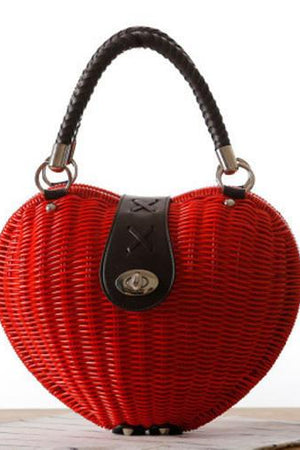 Styles Station Bar Store Top-Handle Bags red Heart Shaped Straw Casual  Totes Rattan Knitting 13e7d21ec9828