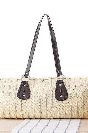 Two Store Shoulder Bags Beige Vintage Large Tote Woven Straw Beach Handbags 0fdbf2e20a58a