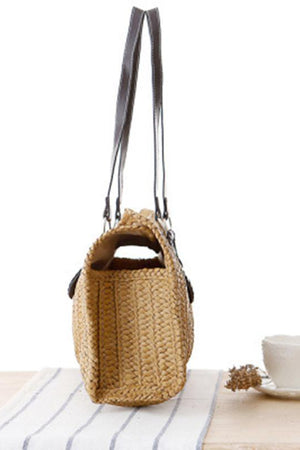 Two Store Shoulder Bags Vintage Large Tote Woven Straw Beach Handbags