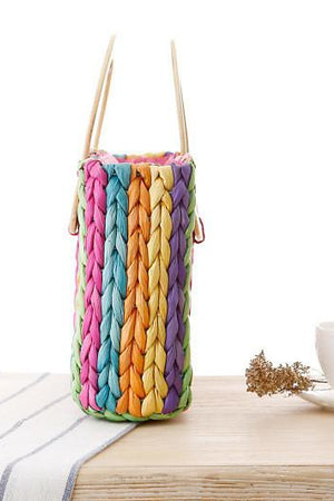 World Store Top-Handle Bags Rainbow Color Woven Bag Hand Carry Beach Straw Casual Handbag