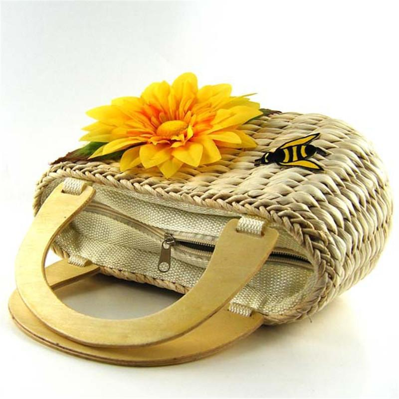 Z S Store Top-Handle Bags Cute Sunflower With Bee Straw Knitting Beach Bag  Tote Designer 67f348c8d0081
