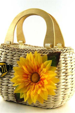 Z&S Store Top-Handle Bags Cute Sunflower With Bee Straw Knitting Beach Bag Tote Designer Handbags