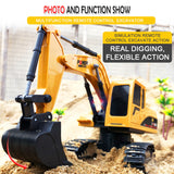 GOOLRC 1/24 RC Excavator RC Truck Excavator Construction Tractor Metal Shovel Kids Toy with Lights & Sounds