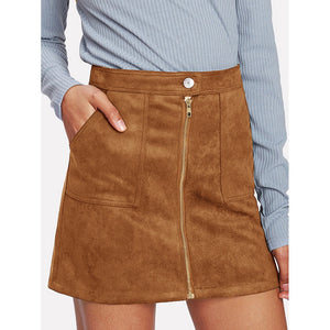 Zip Front Dual Pocket Skirt