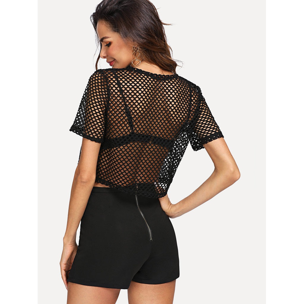 Fishnet Top & Eyelet Lace Up Side Shorts Without Bra