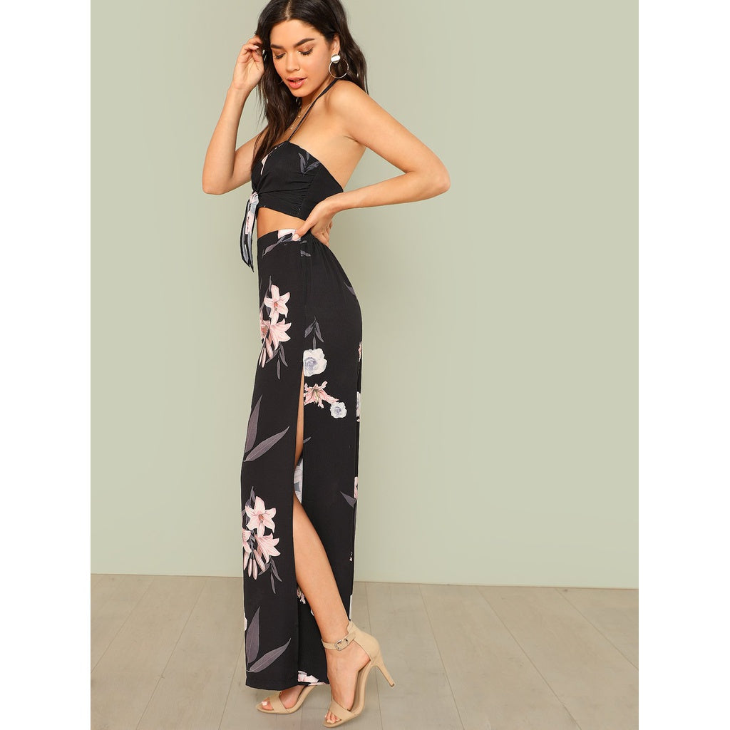 Floral Print Halter Strap Crop Top with Open Leg Palazzo Pants