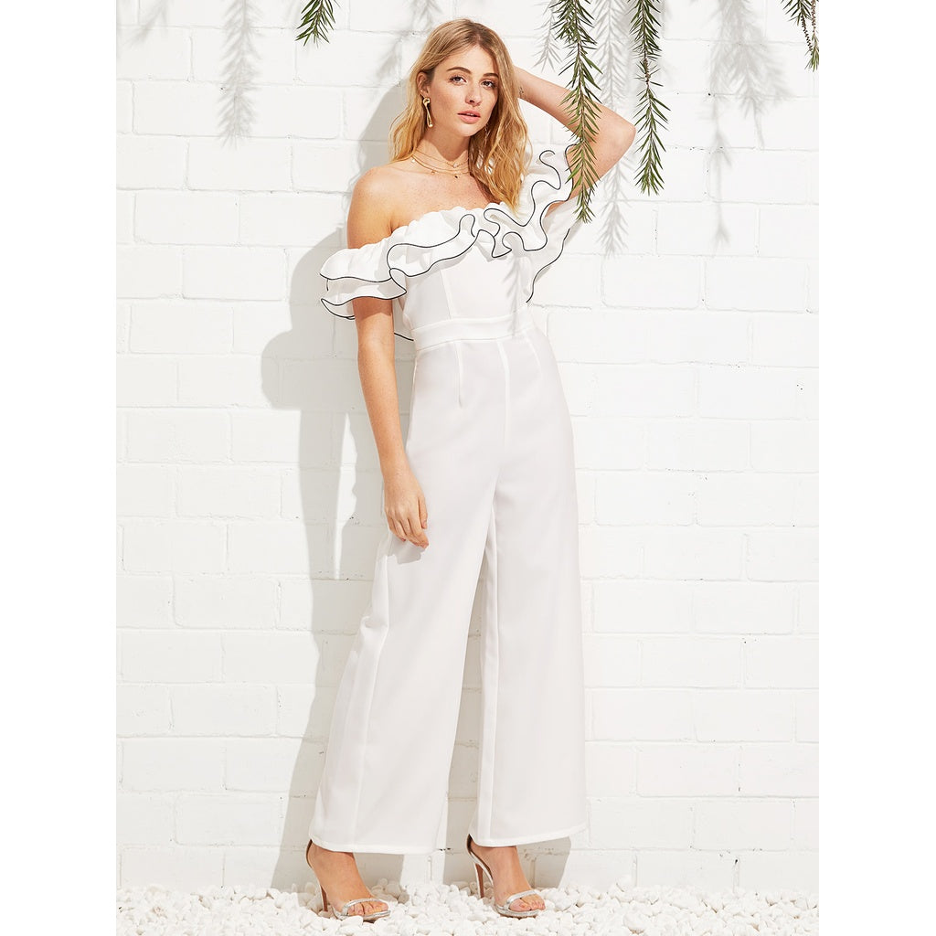 Exaggerate Ruffle Off Shoulder Jumpsuit