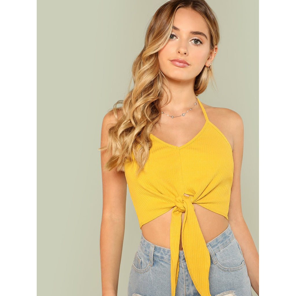 Knot Front Rib Knit Halter Crop Top