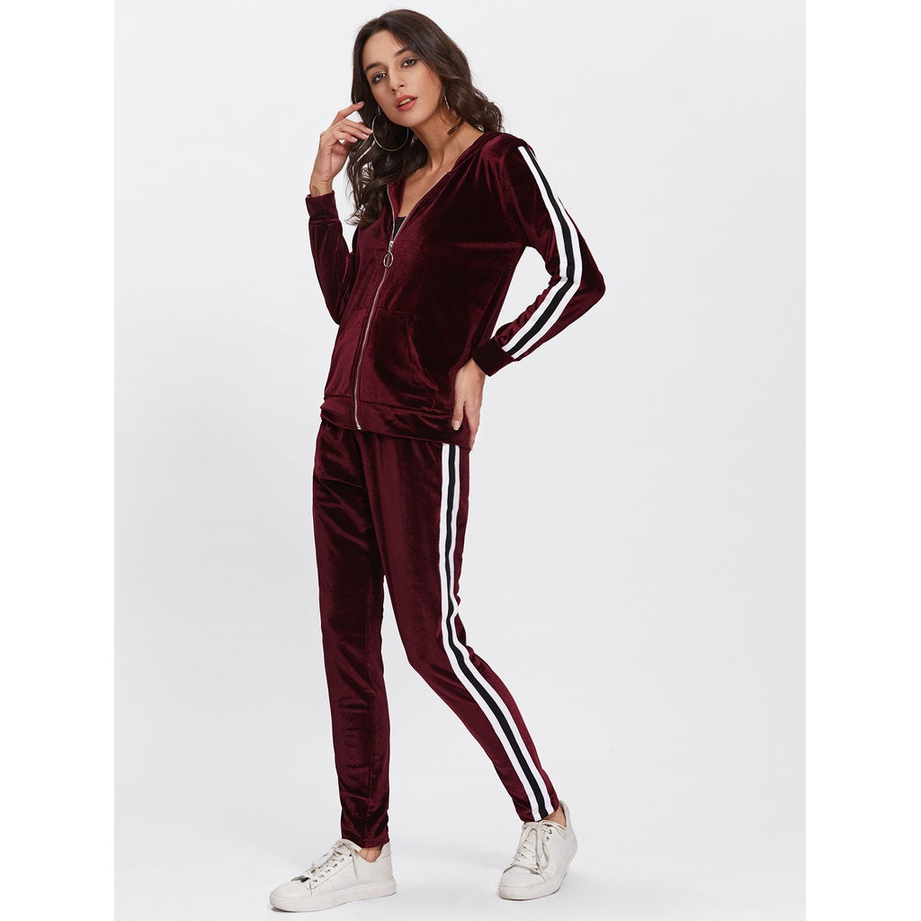 Contrast Stripe Side Velvet Hoodie And Pants
