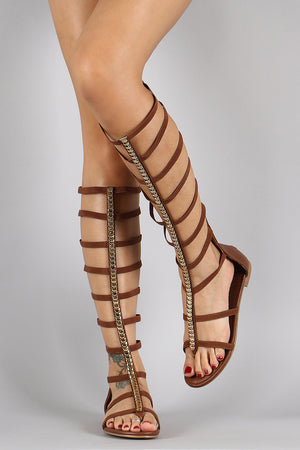 Elasticized Strappy Center Ornament Gladiator Flat Sandal