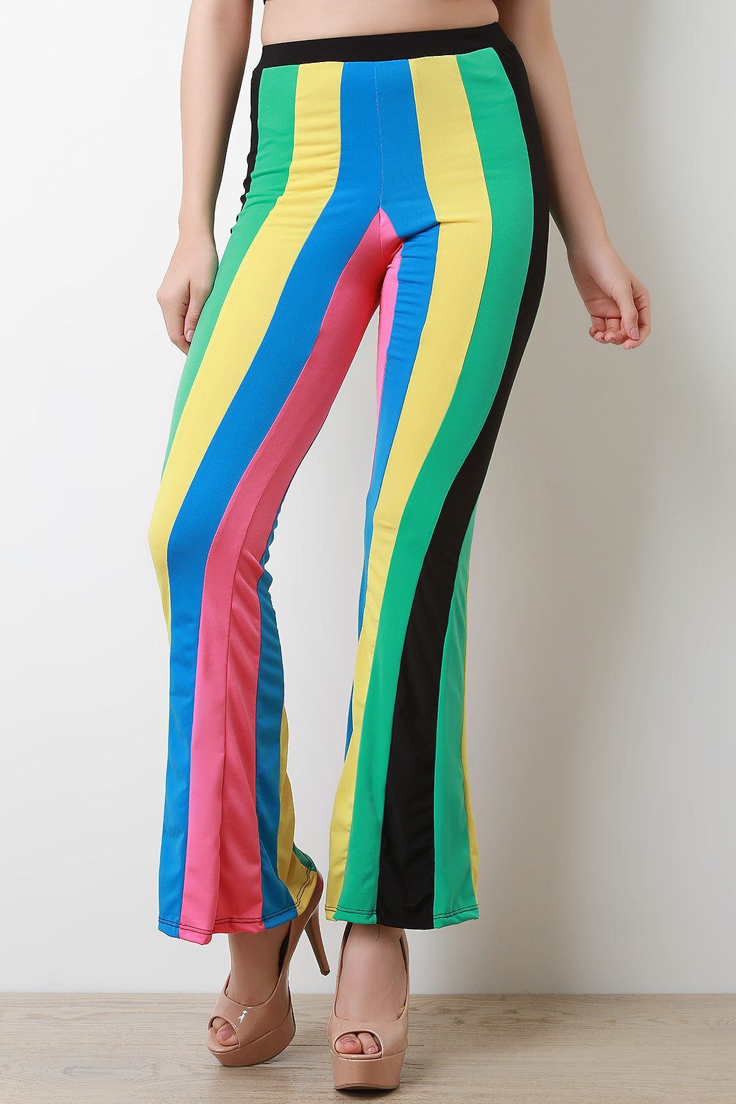 Color Panel Flare Pants