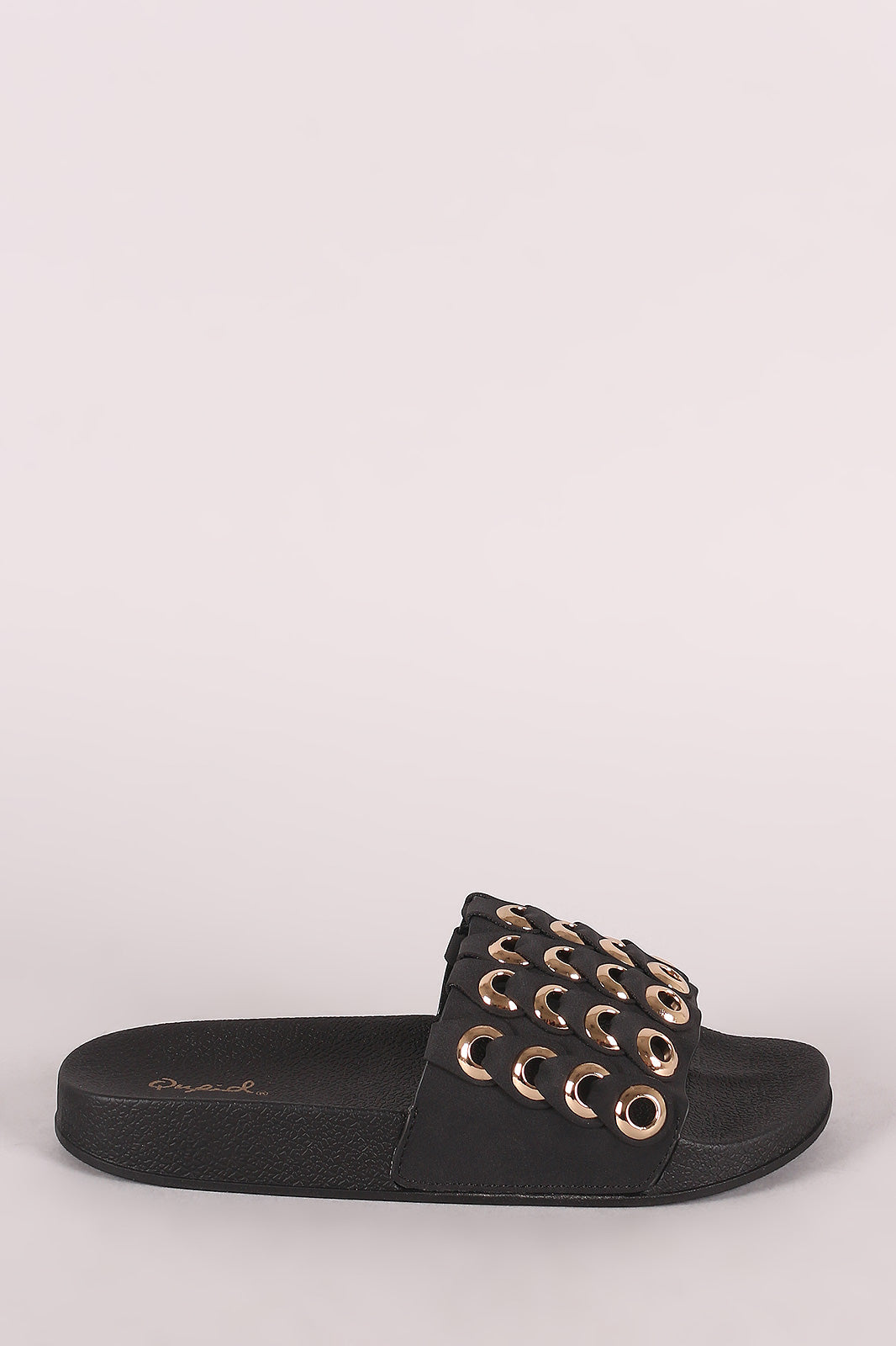 Qupid Grommet Embellished Slide Sandals
