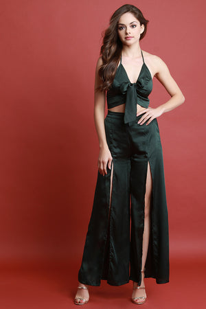 Satin Halter Crop Top With Wide Leg Slit Pants Set